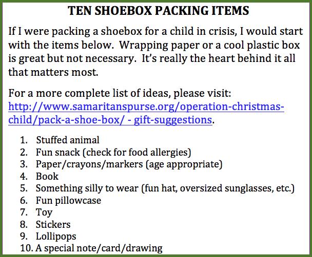 10 Shoebox packing items