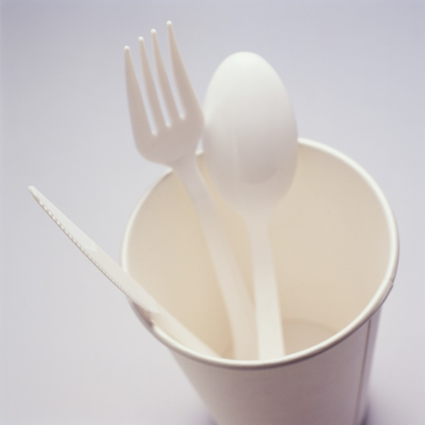 Plastic Utensils in Cup